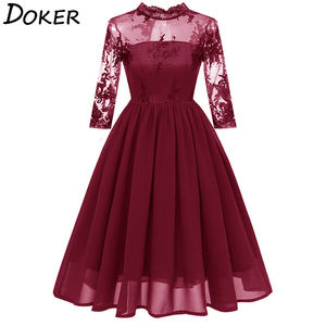 Women Elegant Lace Chiffon Evening Party Dress Fashion Hollow O-neck Dresses Ladies Vintage Embroidered Midi A-line Dress