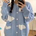 Корейский облачный свитер пальто 2020 осень зима длинный рукав вязаная куртка Повседневный Кардиган с круглым вырезом Ropa De Invierno Mujer