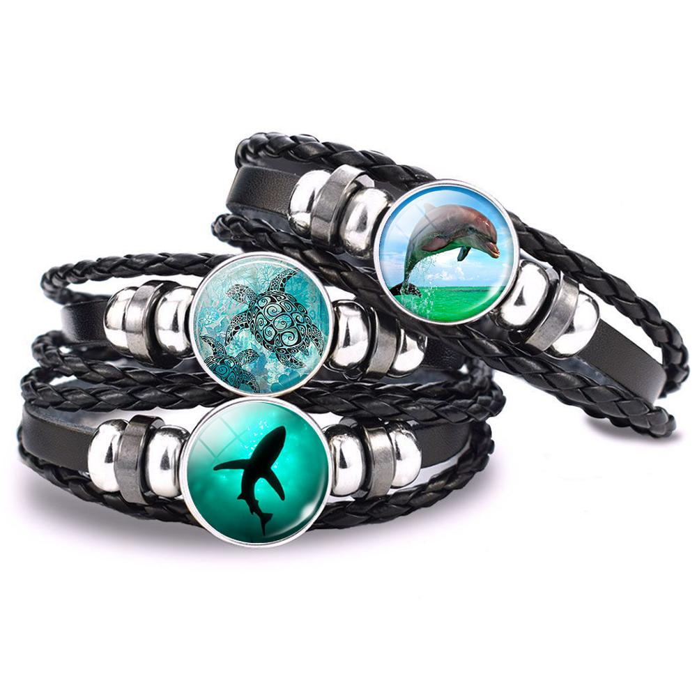 Sea Animals Jewelry Shark Turtle Dolphin Starfish Jellyfish Glass Cabochon Braided Black Leather Woven Bracelet for Gifts
