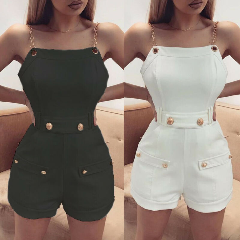 2020 Modis Women Sexy Jumpsuits Sleeveless Short Romper Female Casual Mini Playsuits High Waist Button Ladies Overall Streetwear
