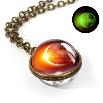 Galaxy Double Sided Pendant Necklace Jewelry Necklaces Women Jewelry Metal Color: LGS0039-Luminous