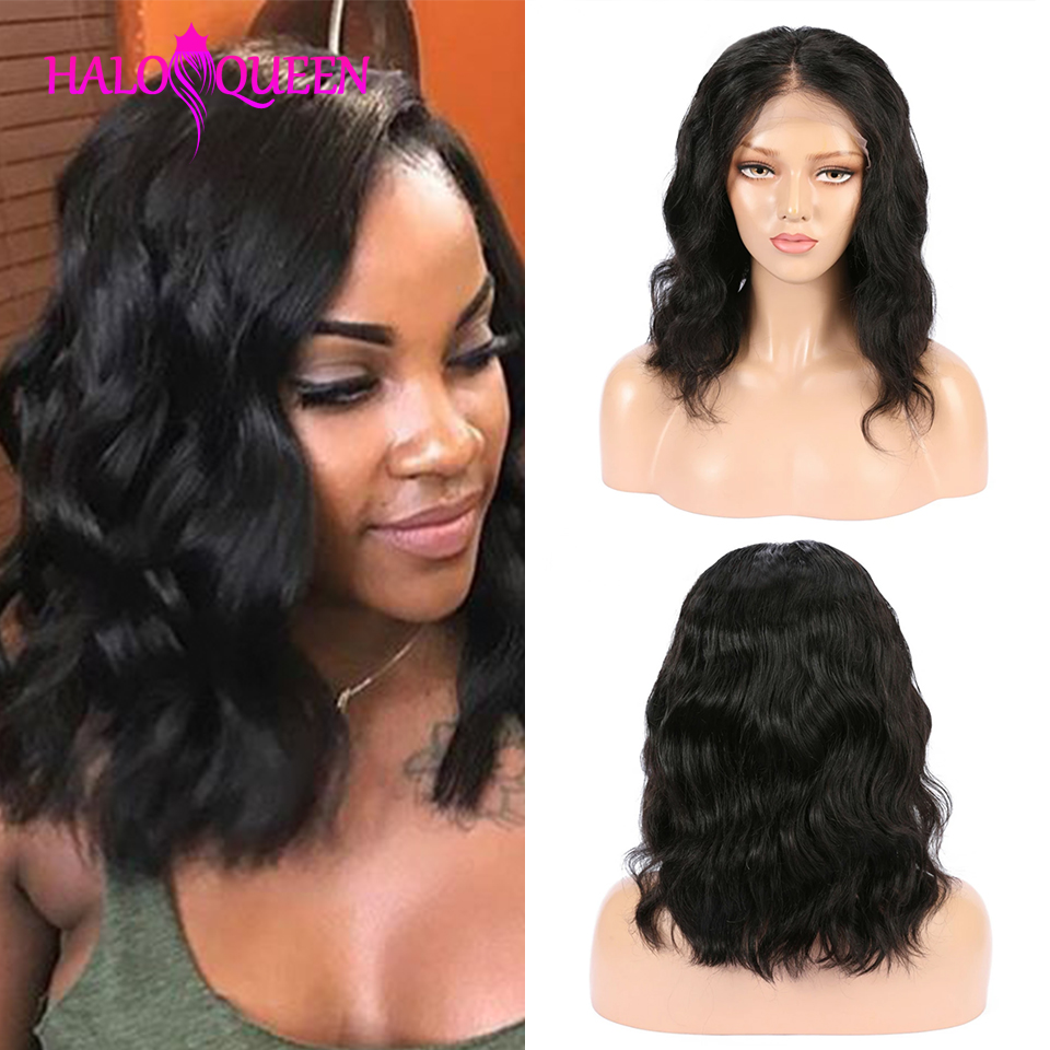 HALOQUEEN Wigs Closure Human-Hair Lace Body-Wave Pre-Plucked Mid-Length Brazilian 13X4