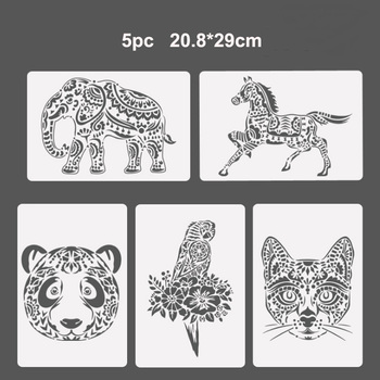 5pc Reusable Stencil Bullet Journal Painting Template DIY Wall Painting Scrapbook Coloring Embossing Album Decorative Template free shipping stencil painting template stamps diy scrapbooking photo album cards decorative embossing cake fondant cupcake tool