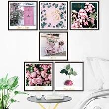 Розовый наклейки на стену с Спальня Гостиная украшения эстетическое