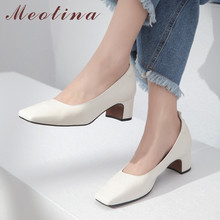 Meotina High Heels Women Shoes Natural Genuine Leather Thick
