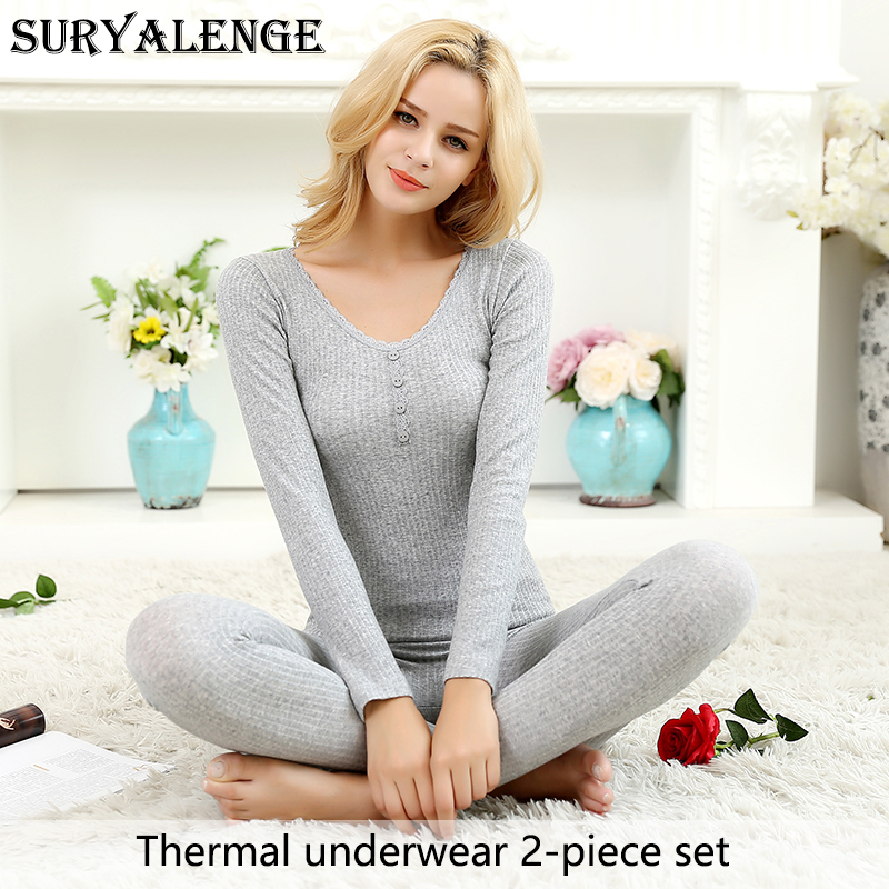 SURYALENGE Autumn And Winter Four-button Women's Thermal Underwear Set Single Layer Seamless Lace Lace Body Slim Body New