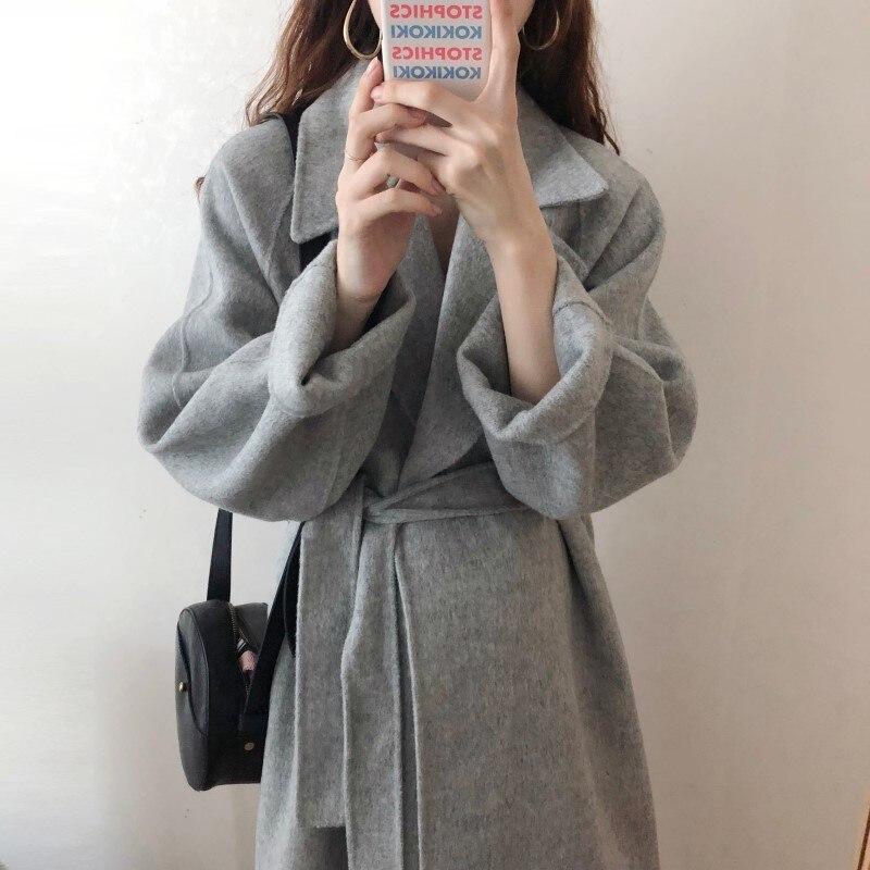 19 Winter Oversize Long Trench Coat Women Cashmere Coat Korean Lady Windbreaker Outwear Streetwear 12