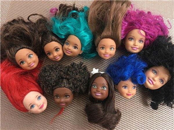 Raro original kelly cabeça de boneca boa maquiagem 1/6 cabeça de boneca roxo azul cabelo brinquedos parte qualidade diy brinquedo princesa boneca acessórios