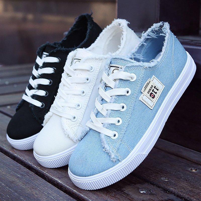 New Women's Sneakers Canvas Shoes Summer 2020 Fashion Trainers Lace Up Female Sneakers Walking Shoes Sapatos Feminino Cheap