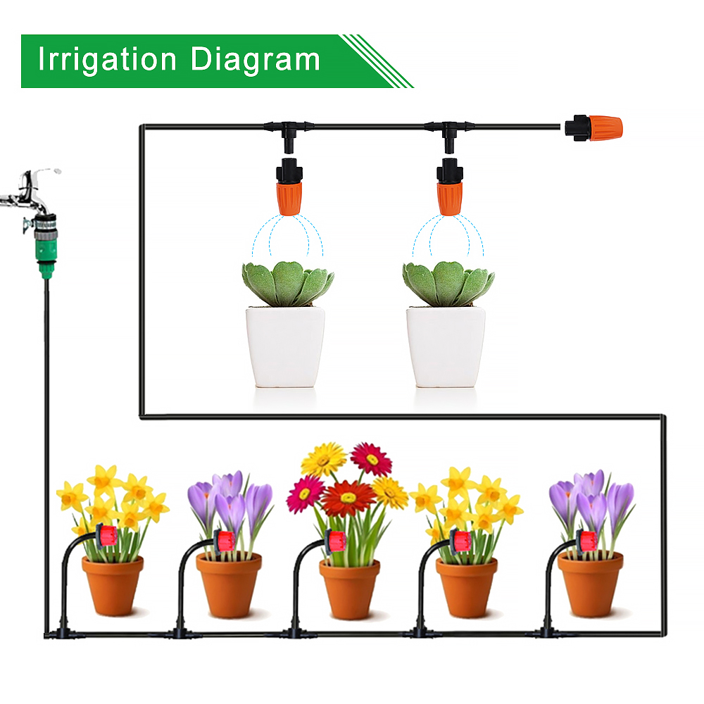 25M Irrigation Spray DIY Drip Irrigation System Automatic Watering Garden Hose Micro Drip Watering Kits with Adjustable Drippers