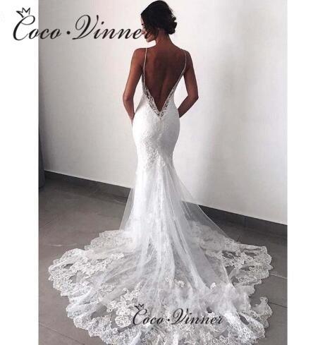 Delicate Embroidery Spaghetti Straps Sexy Mermaid Wedding Dresses V-neck Backless Pure White Bridal Gown Vestido De Novia W0527