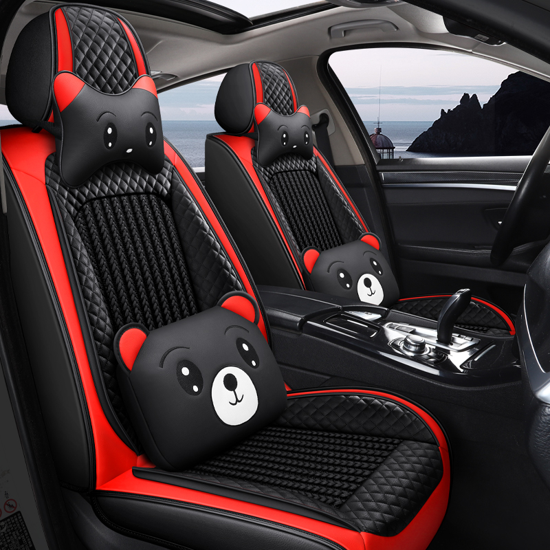 Universal Car Seat Cover Set Cartoons Ice Silk Pu Leather Full Seat High Quality Car Interiors Fit for Most Cars for 4 Seasons