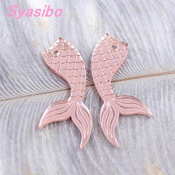 Pendientes de acrílico de 38mm /50mm, pendientes de cola de sirena, oro rosa y plata, recorte láser con espejo-AC1544