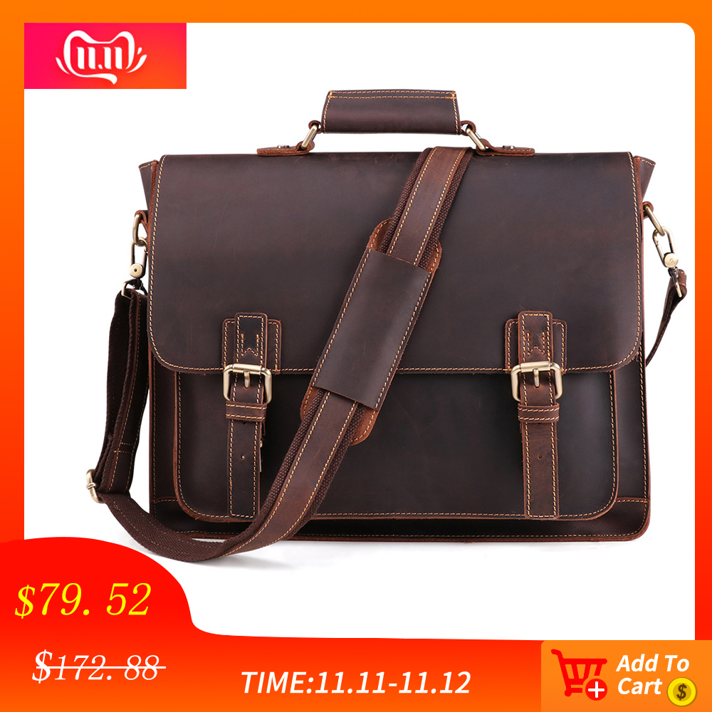 JOYIR 2019 Vintage Mens Genuine Leather Briefcase Crazy Horse Messenger Male Laptop Bag Men Business Travel
