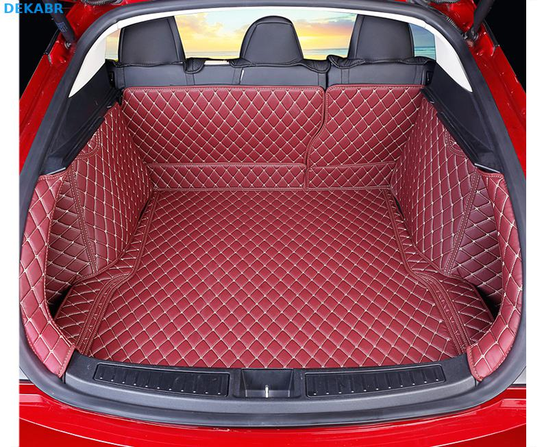 Автомобильный коврик багажника грузовой лайнер задняя крышка Водонепроницаемая накладка протектор для 2014 2019 Tesla модель S интерьерные аксес... - 2