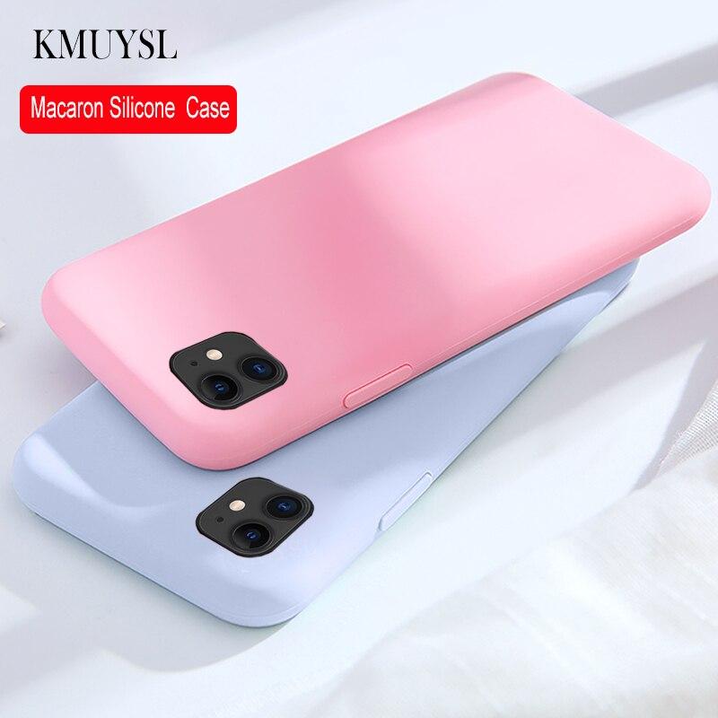 Capa para iphone 7 8 6s plus 5 5S se caso simples etui cor doce slicone caso para iphone 11 pro max xr xs max