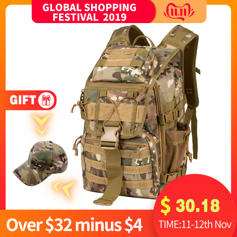 Send Hat Military Tactical Backpack Men's Military Camouflage Bag Outdoor Hunting Camping Bag Hiking Mountaineering Backpack