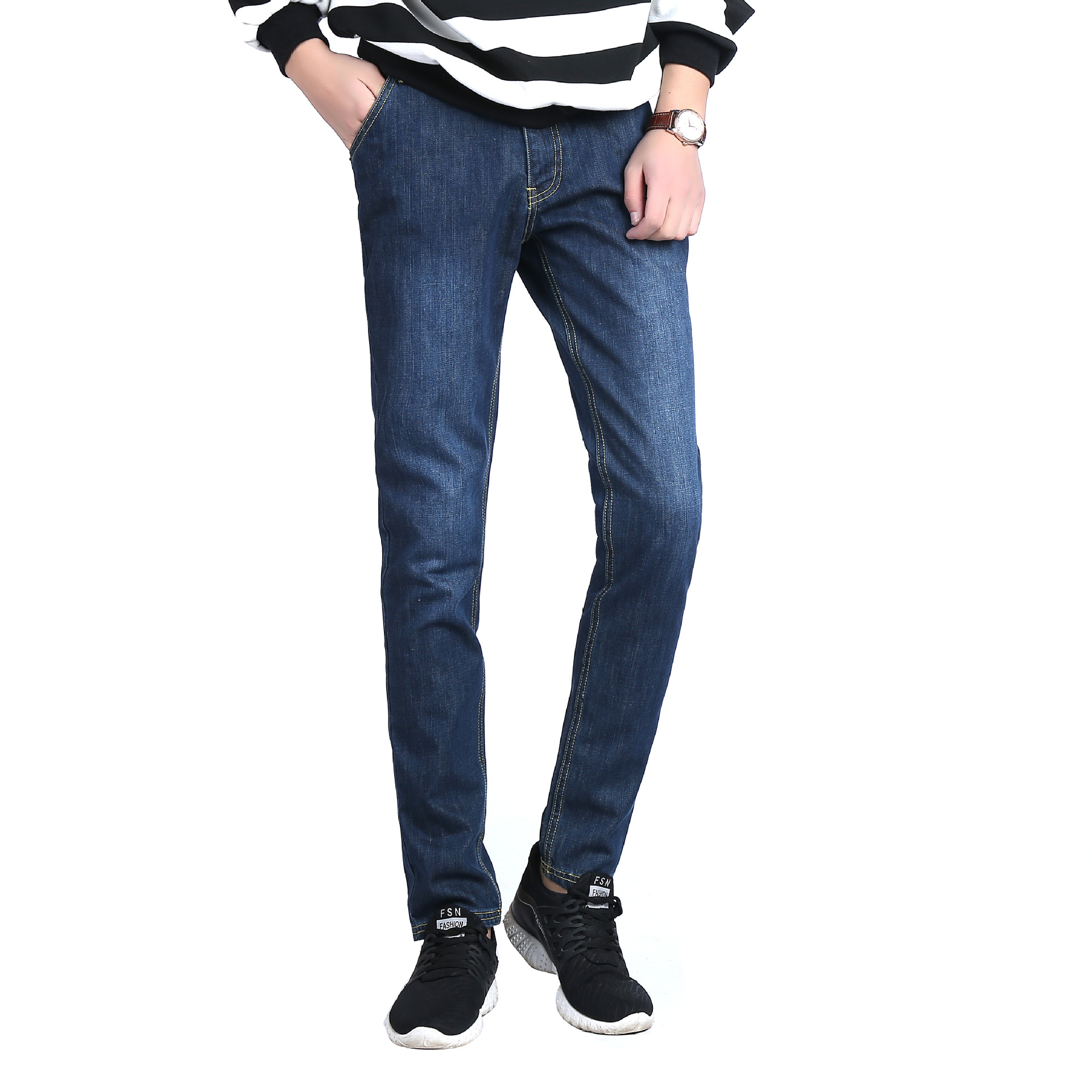 Futexplus Autumn And Winter Jeans Men's Slim Women's Skinny Simple Youth Casual Korean-style MEN'S Trousers Fashion
