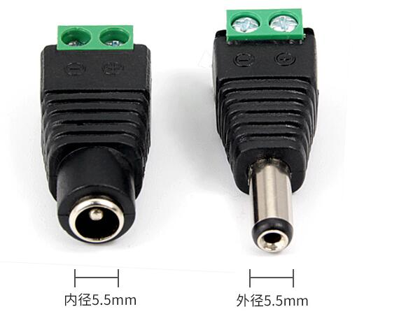 H3610cd7304b1470a9bf5c38eb724ab1e1 - 1pcs Female +1 pcs Male DC connector 2.1*5.5mm Power Jack Adapter Plug Cable Connector for Monitoring engineering power supply