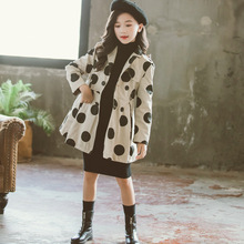 Kids Girls Coat Cute Dot Print Coats Cotton Comfort Casual Autumn Warm Outerwear Children Jacket Tops for 6 7 8 9 10 12 14 Y