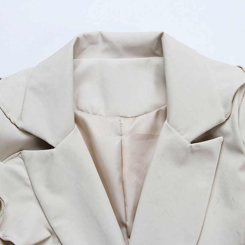 2020 새로운 가을 여성 긴 소매 블레이저 패션 솔리드 프릴 OL 블레이저 여성 우아한 슬림 맞는 더블 브레스트 겉옷