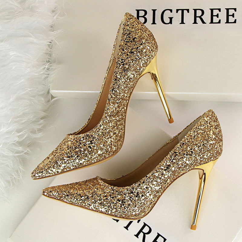 Women Pumps High Heels Wedding Shoes Sequins Leather Gold Stiletto Female Pointed-Toe Super Thin Heen Heels Sexy Ladies Shoes 43