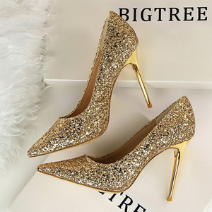 Women Pumps High Heels Wedding Shoes Sequins Leather Gold Stiletto Female Pointed-Toe Super Thin Heen Heels Sexy Ladies Shoes 43(China)