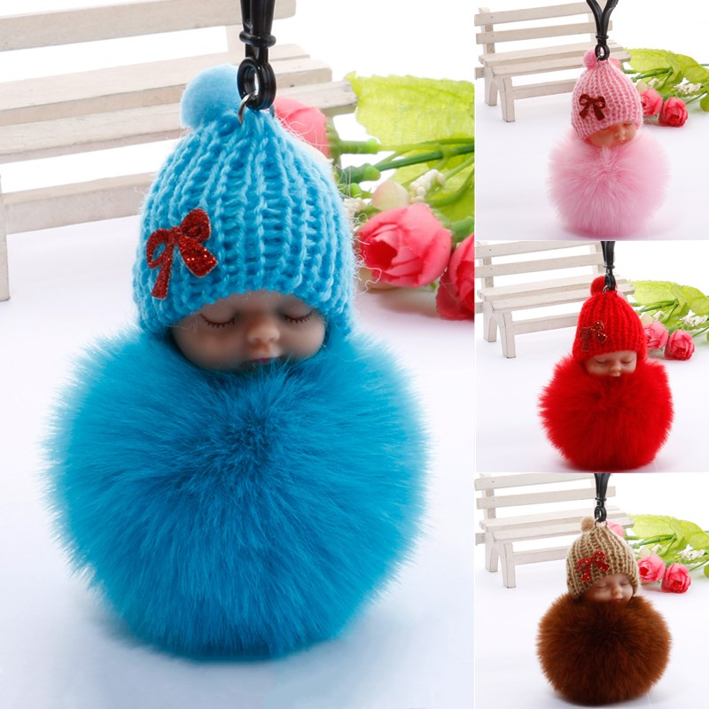 Personalized Gift Best Wish Sleeping Baby Plush Doll Fur Ball Key Chain Pendant Baby Shower Birthday Wedding Party Favors Gifts