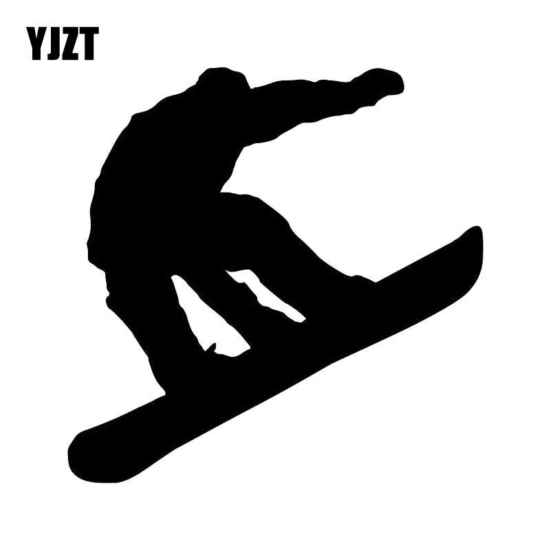 YJZT 15CM*15CM Snowboarder Wonderful Car Sticker Creative Decoration Car Door Vinyl Decal Black/Silver C31-0204
