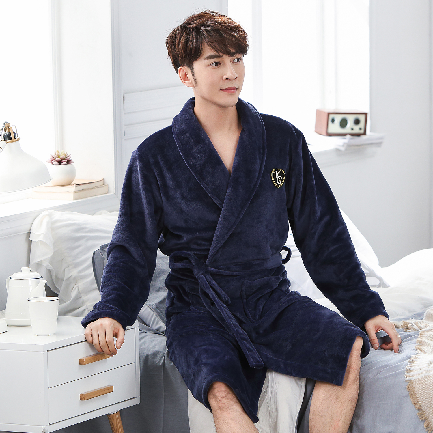 Winter Men Full Kenn-length Kimono Robe Gown Nightwear Keep Warm Nightgown Casual Soft Homewear Bath Gown Flannel Nightdress