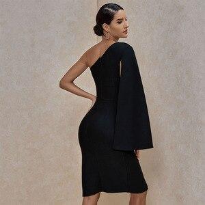 Image 3 - Ocstrade夏セクシーな腿スリット片方の肩包帯ドレス 2020 新到着の女性の黒包帯ドレスボディコンクラブパーティードレス