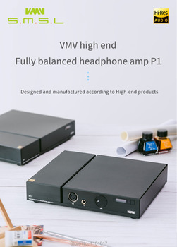 SMSL P1 Headphone Amp Hi-end Desktop Fully Balanced HIFI Headphone Amplifier RCA/XLR input 6.35mm/ balanced output With Remote