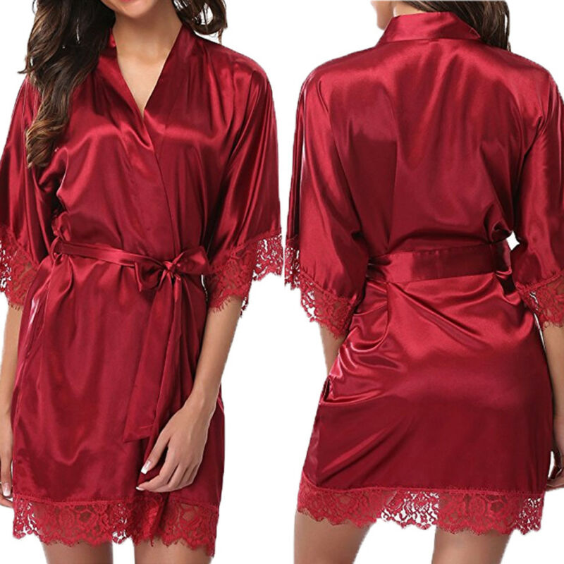 New Women Nightdress Satin Lace Sexy Sleepwear Lingerie Night Mini Solid Dress V Neck Nightgown Bath Robe Gown Nuisette 3FS