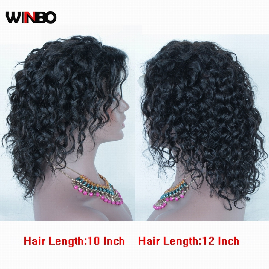 WINBO Brazilian Remy Hair Women Wigs Deep Wavy Full Lace Wigs Natural Black Color Pre Plucked Hairline Baby Hair