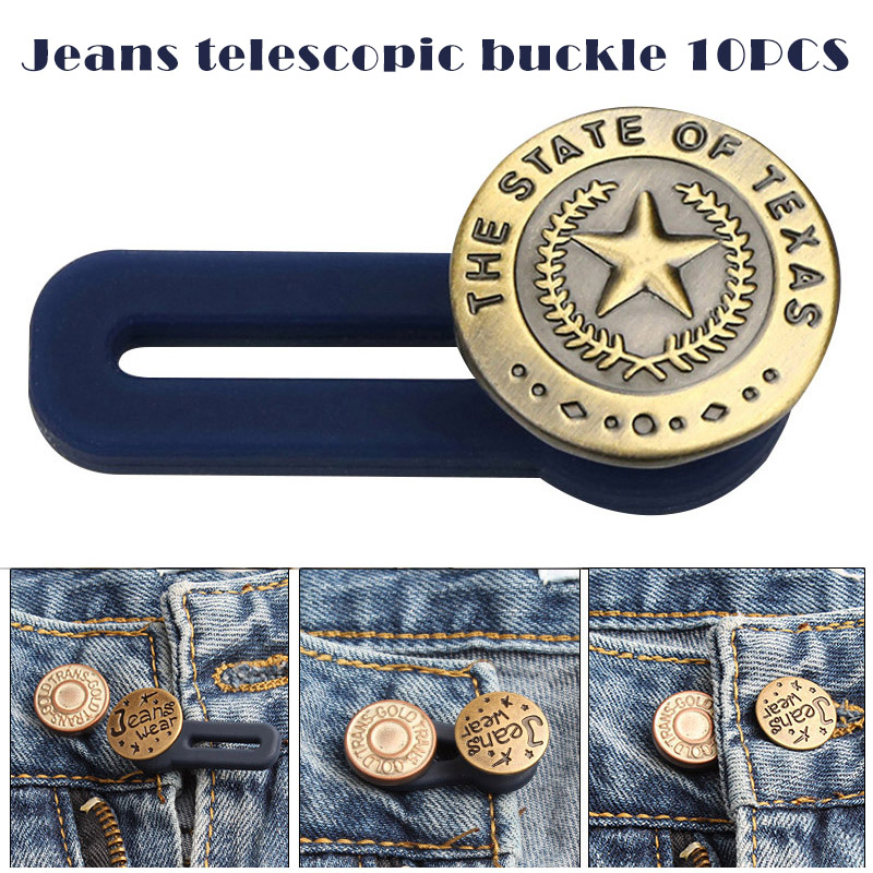 Fashion Unisex Belt Buckle 10pcs/Set Retractable Jeans Button Hot Sale Adjustable Extended Women Men Jeans Buttons