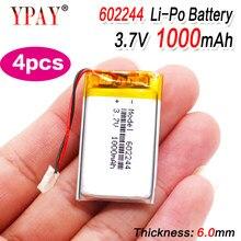 Bateria esperta do li-íon dos oradores mp3 da casa 1000 mah 3.7 v 602244 do polímero de 4 pces para dvd, gps, mp3,mp4,mp5 telefone celular, orador
