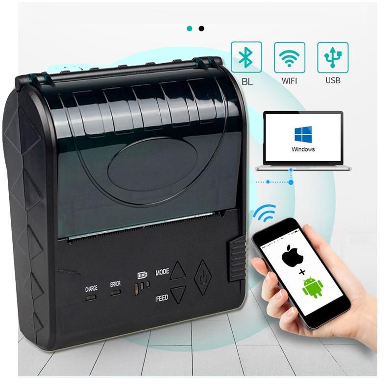 80mm Portable Bluetooth Thermal POS Printer Mini Printer Bluetooth Ios Thermal Receipt Barcode Printer Android