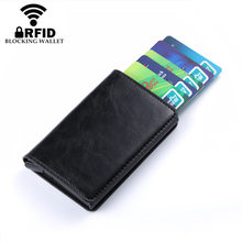 2019 Business Credit Card Holder Men And Women Metal RFID Vintage Aluminium Box Crazy Horse PU Leather Wallet purses