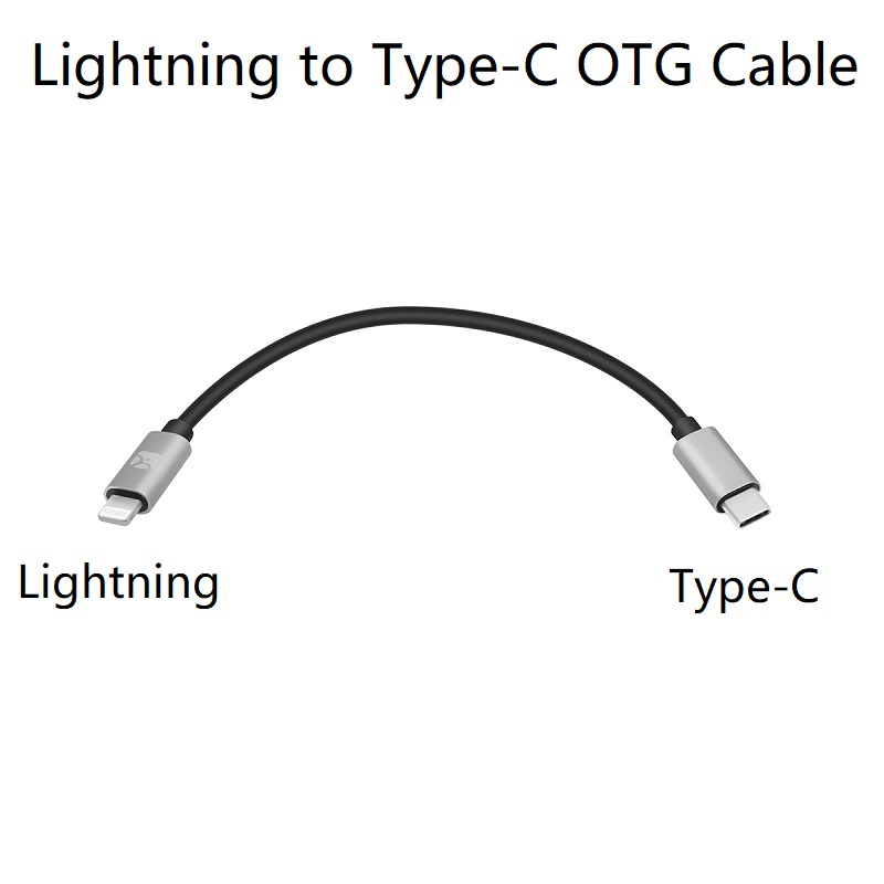 Câble OTG Lightning à type-c pour Shanling M2X M5s Up4 2 M0, Fiio BTR5 3 iPhone 11 XS Max, XR, XS, X, 8, 8 Plus, iPad Pro, appareil photo
