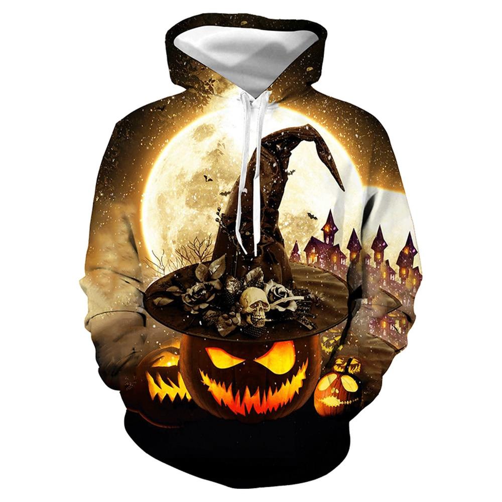 LISCN 2019 Halloween new autumn and winter hoodies 3D printing skull print couple models