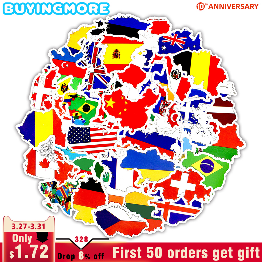 50 PCS National Flags Sticker Toy Travel Countries Map Waterproof Stickers To DIY Laptop Suitcase Motorcycle Skateboard Stickers