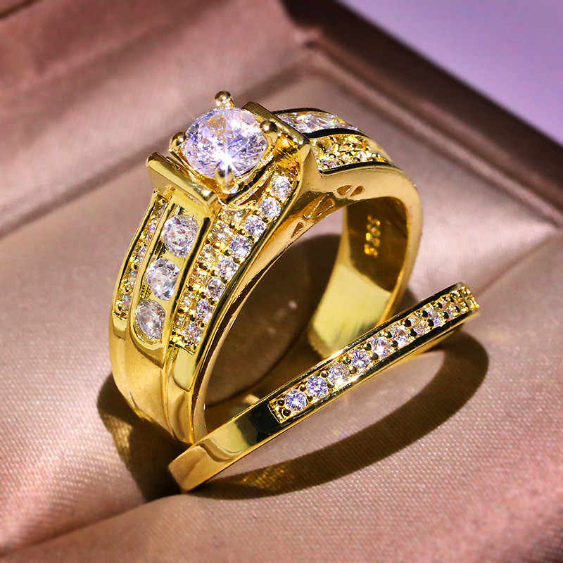Luxo Feminino Cristal Zircon Pedra Anel Set 18KT Amarelo Do Casamento Cor De Ouro Anel de Dedo Amor Promessa Anéis de Noivado Para As Mulheres
