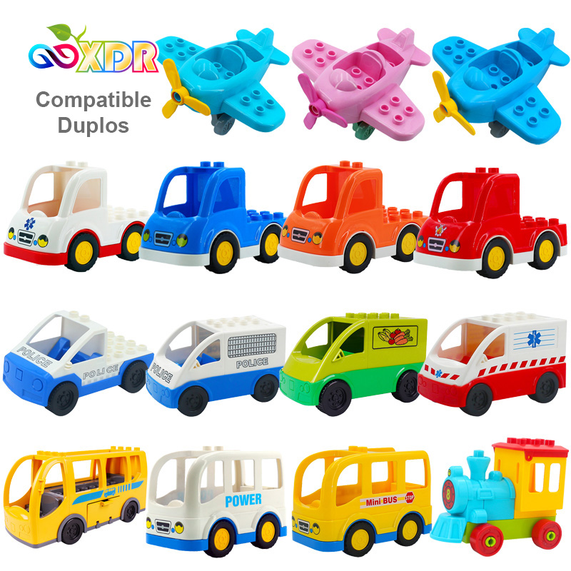 Duplo Car Toys For Children Ambulance Truck Train Fire Truck Aircraft Helicopter Off-Road Vehicle Bulldozer DIY Educational Toys