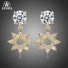 AZORA New Paved CZ Crystal Flower Drop Earrings for Women Fashion Gold Color Hollow Dangle Earring Birthday Jewelry Gift TE0417 vecalon office fashion tassels dangle earring aaaaa zircon cz white gold filled engagement wedding drop earring for women
