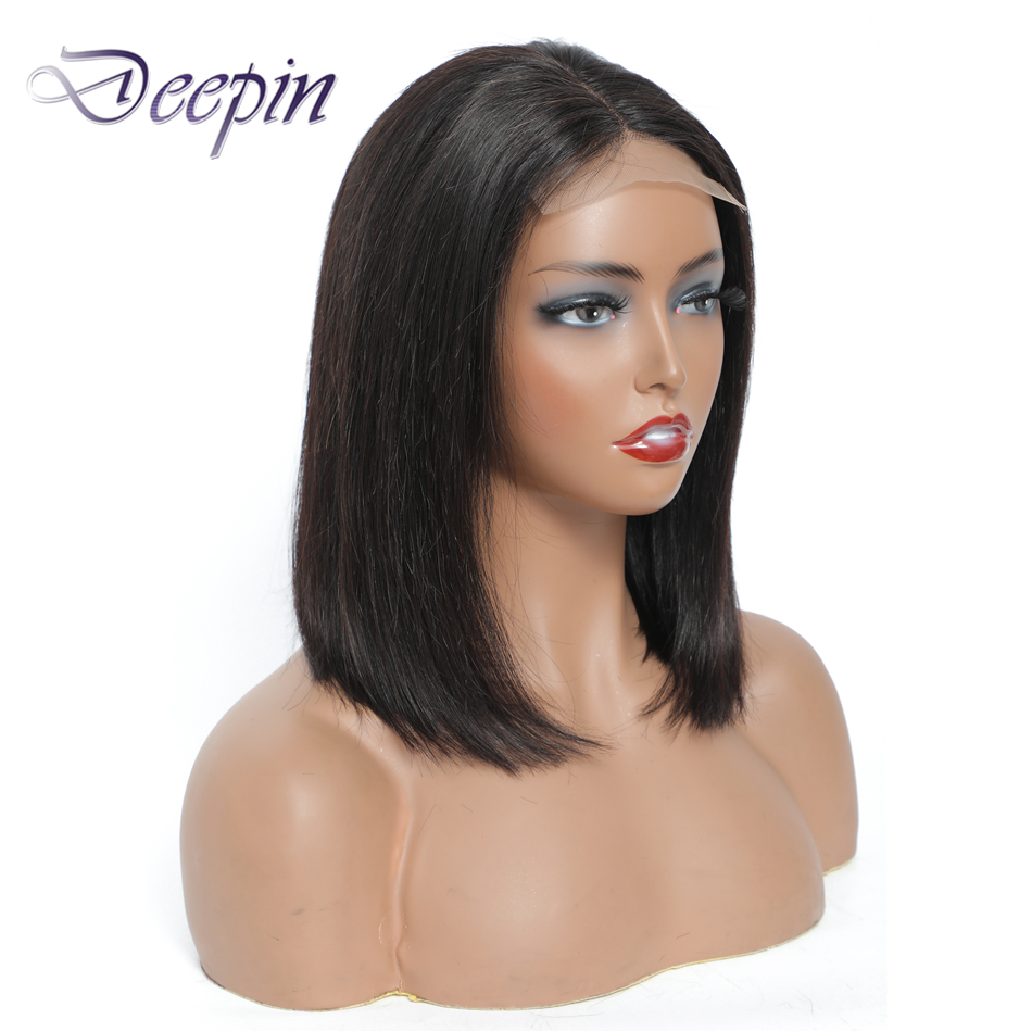 Deepin Hair Short Straight Bob Hair Wigs 4x4 Lace Closure Wigs Natural Color Brazilian Non-Remy Human Hair Wigs For Black Women