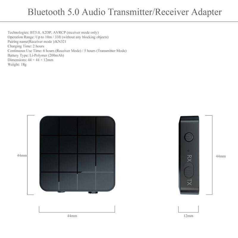 Bluetooth <font><b>5</b></font>,<font><b>0</b></font> Audio Receiver Transmitter 2 IN 1 RCA 3,<font><b>5</b></font> MM 3,<font><b>5</b></font> AUX Jack <font><b>USB</b></font> Musik Stereo Wireless Adapter für Auto TV MP3 PC image