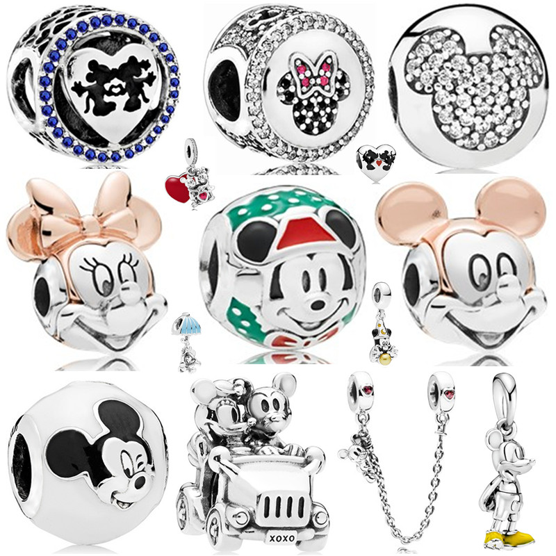 New Arrival Original 925 Silver Beads Mickey Minnie Heart Charms Pendant Fits Pandora Bracelet DIY Jewelry Making Lovely Cute(China)
