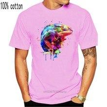 T-Shirt à manches courtes panthère caméléon pour homme, haut européen, tout en coton, style Hip Hop, col rond, 3D