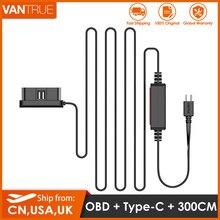 Vantrue 10ft tipo c usb obd cabo de carregador hardwire para vantrue n4/t3/n2s traço cam e outro tipo c usb porta de alimentação traço cams