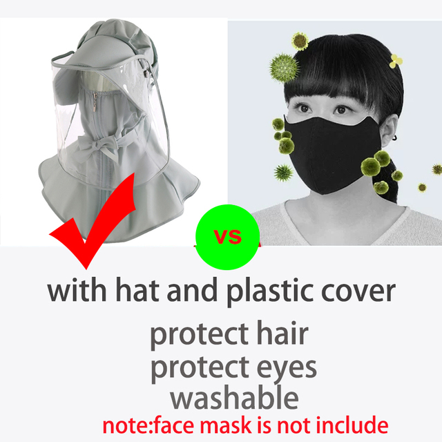 360-degree safety protection hat  plastic full face eyes cover anti dust flu face mask cover with hat anti spittle protection 2